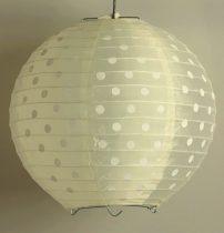 Pöttyös organza lampion 25 cm-s, krém