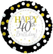 40. évszámos születésnapi fólia lufi, fekete-arany (45 cm) -117803