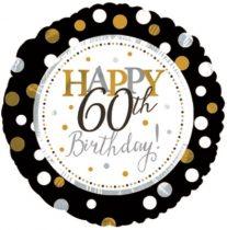 60. évszámos születésnapi fólia lufi, fekete-arany (45 cm) -117805