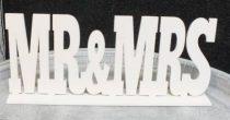 Mr. és Mrs. fatábla asztaldísz, fehér (25*10 cm)