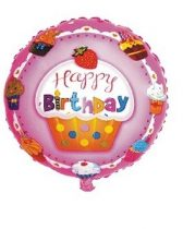 Happy Birthday, muffinos fólia lufi (45 cm)-219591