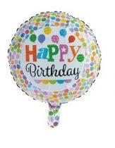 Happy Birthday, pöttyös fólia lufi (45 cm)-219553