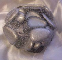 dekorkő,dekorkavics, 4 cm-s ( kb. 25 db) ezüst