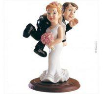 esküvői tortadísz, hátán cipelős (14 cm)-305174