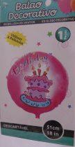 Happy Birthday rózsaszín, tortás fólia lufi (45 cm)