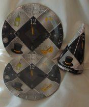 szilveszteri papír tányér, ezüst , 23 cm-s, (6 db)