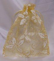 organza tasak arany, fehér mintával (23*18cm)-24 db