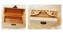 vintage esküvői gyűrűtartó dobozka (9*5**5 cm), galambos