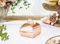 vendágajándék dobozka metál rosegold, 10 db (6*6*5,5 cm)
