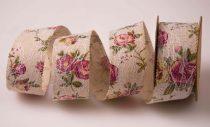 Vintage szalag rózsás, csipkés (4 cm*6,4 m)- VR02