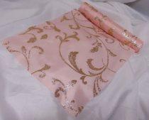dekorselyem asztali futó indás glitteres, rosegold (25 cm * 5 m)-1702
