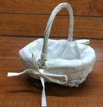Sziromszóró kosár fehér, bélelt (23*18*20 cm)-közepes