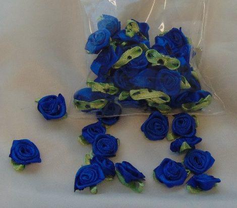 szatén rózsafej levélkével, királykék (kb. 50 db)