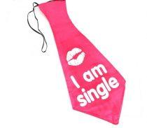 I am single, óriás nyakkendő piros színben (55 cm)