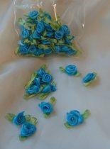 szatén rózsafej levélkével, türkizkék (kb. 50 db)