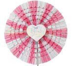 papírtárcsa rózsaszín, esküvői mintával (50 cm)