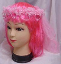Lánybúcsús hajpánt fátyollal (rózsaszín)