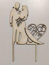 Vintage esküvői tortadísz, elegáns