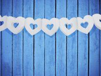 papír szív girland fehér (13 cm * 3 m)