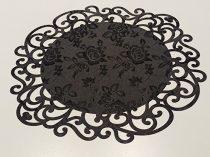indás szélű asztalközép, fekete rózsás (36 cm)-4 db