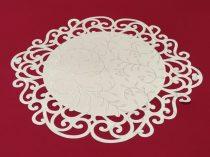 indás szélű asztalközép, krém, mintás (36 cm)-4 db