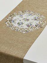 indás szélű asztalközép, vintage, lila virágos (23 cm)-4 db