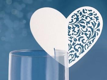 ültetőkártya csipkés szív, 10 db (WSZ 5)